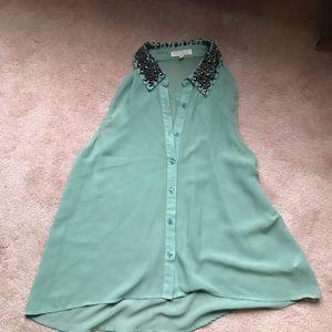 Lush Tops - Lush Mint Sheer Button Up Shirt